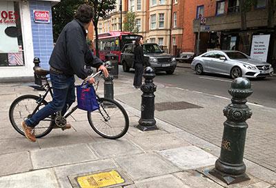 Biking-through-bollards